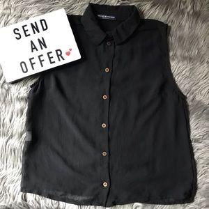 Brandy Melville sheer sleeveless button shirt